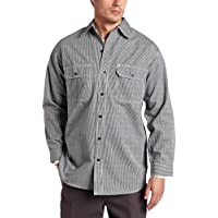 Key Apparel Men's Big & Tall Long Sleeve Button Front Hickory Stripe Logger Shirt