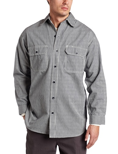 Stripe Button Front Shirt (Key Apparel Men's Long Sleeve Button Front Hickory Stripe Logger Shirt, Hickory Stripe, X-Large-Regular)