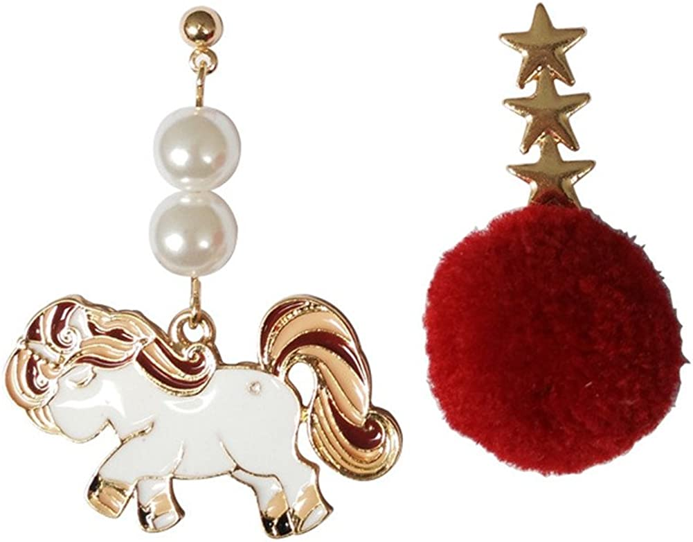 18K Gold Plated irregular Pearled White Unicorn With Red Star Plush Balls Drop Stud Earrings