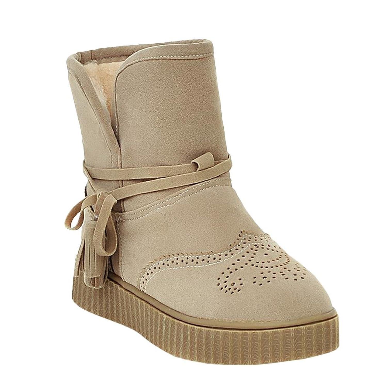 Show Shine Women's Platform Ankle Straps Flats Warm Snow Boots