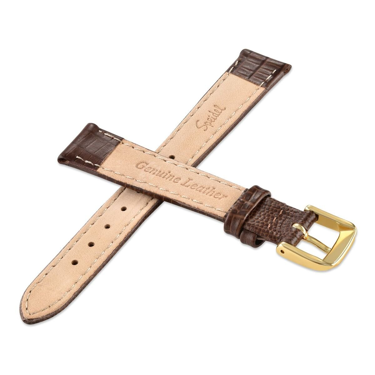Speidel Genuine Leather Watch Band 14mm-Brown Padded Gator Lizard Replacement Strap with Tone on Tone Stitching, Stainless Steel Metal Buckle Clasp, Watchband Fits Most Watch Brands by Speidel (Image #3)