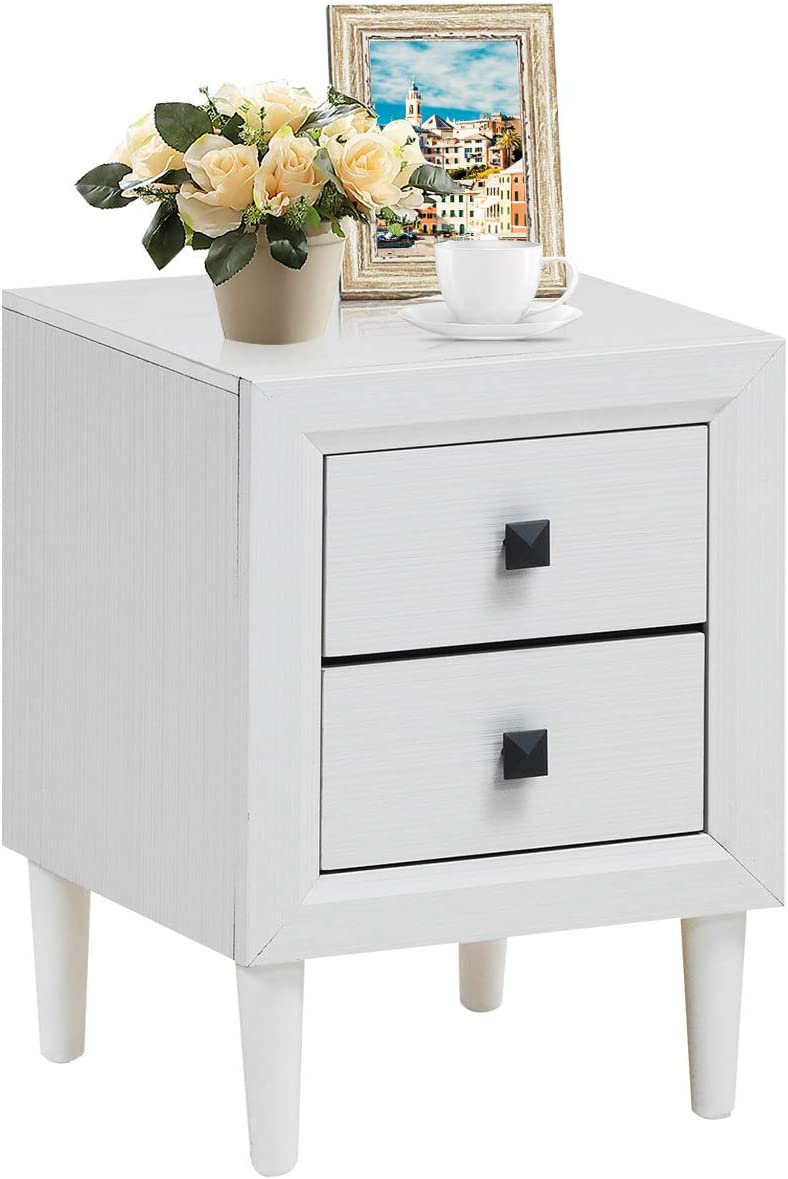 Giantex Nightstand Wooden W/Two Storage Drawers and Handles,Waterproof Material for Bedroom Living Room End Table (1, White)
