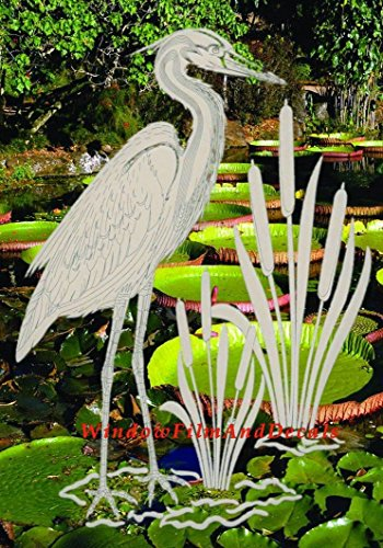 Cheap  Egret & Cattails Left Oval Etched Window Decal Vinyl Glass Cling -..