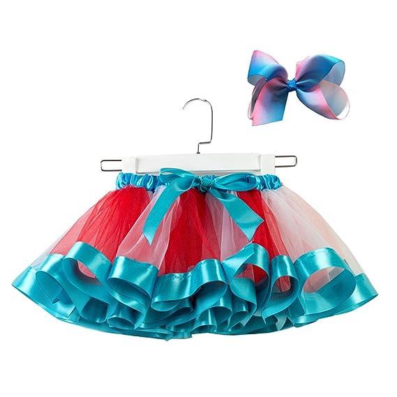 STRIR Falda Tutu para Niñas Niños Dancewear Arco Iris Falda de Tul ...
