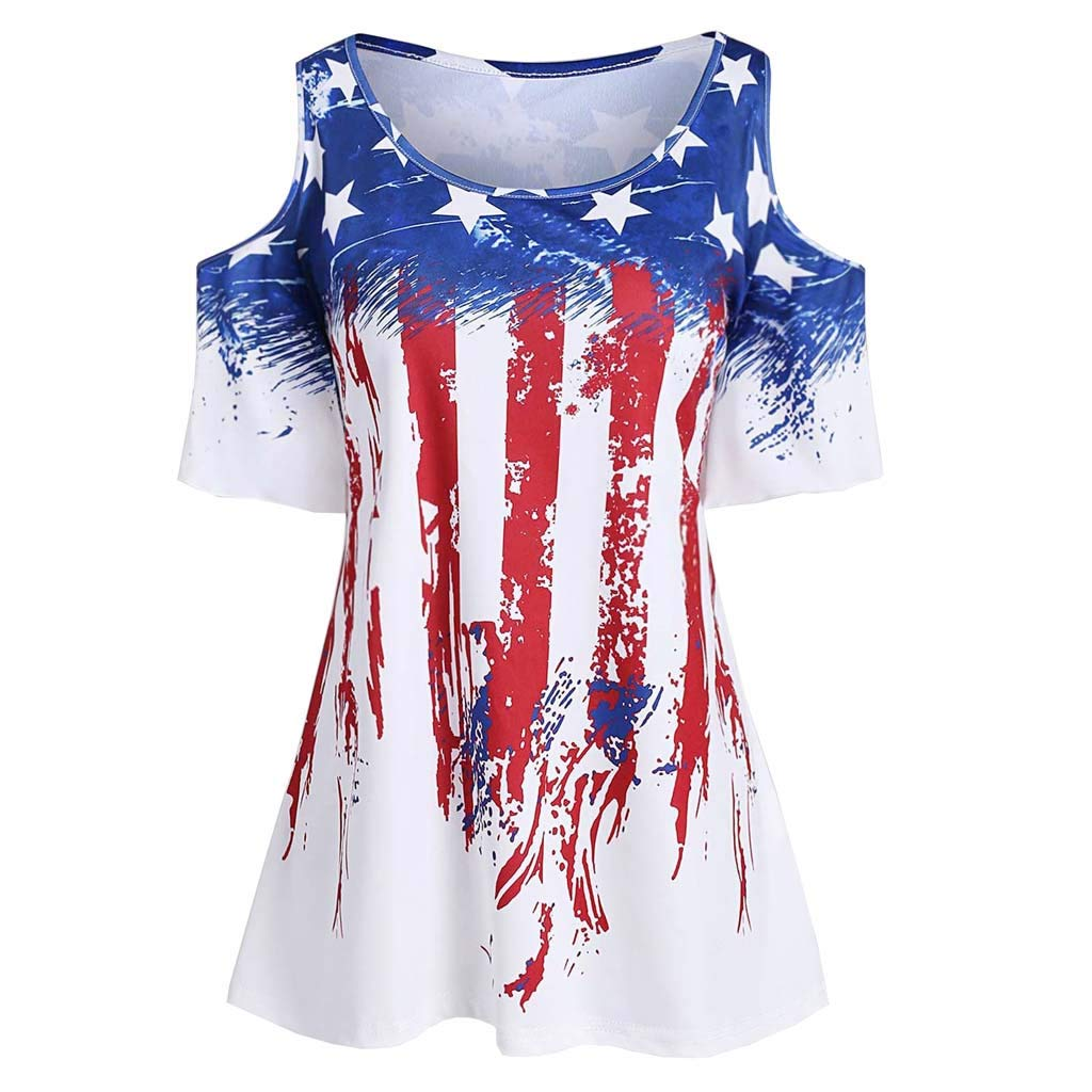 2019 Independence Day Womens Fashion Sleeveless Striped Star American Flag Print Off Shoulder Dresses Casual Loose Tank Top Clothes (Red, Medium)