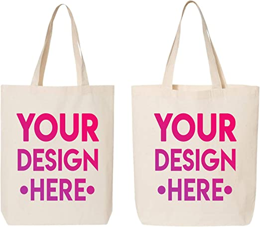 Amazon.com: DESIGN YOUR OWN Canvas Tote Bag - Add your Photo Text -  Personalized Tote Bag: Kitchen & Dining