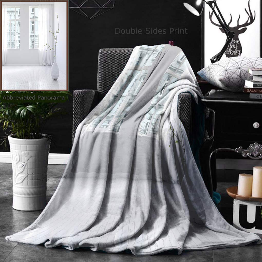 Unique Custom Double Sides Print Flannel Blankets Pair Of Large Bright Windows In Spacious Empty Apartment Room Interior With Hardwood F Super Soft Blanketry for Bed Couch, Twin Size 60 x 80 Inches by Ralahome (Image #1)