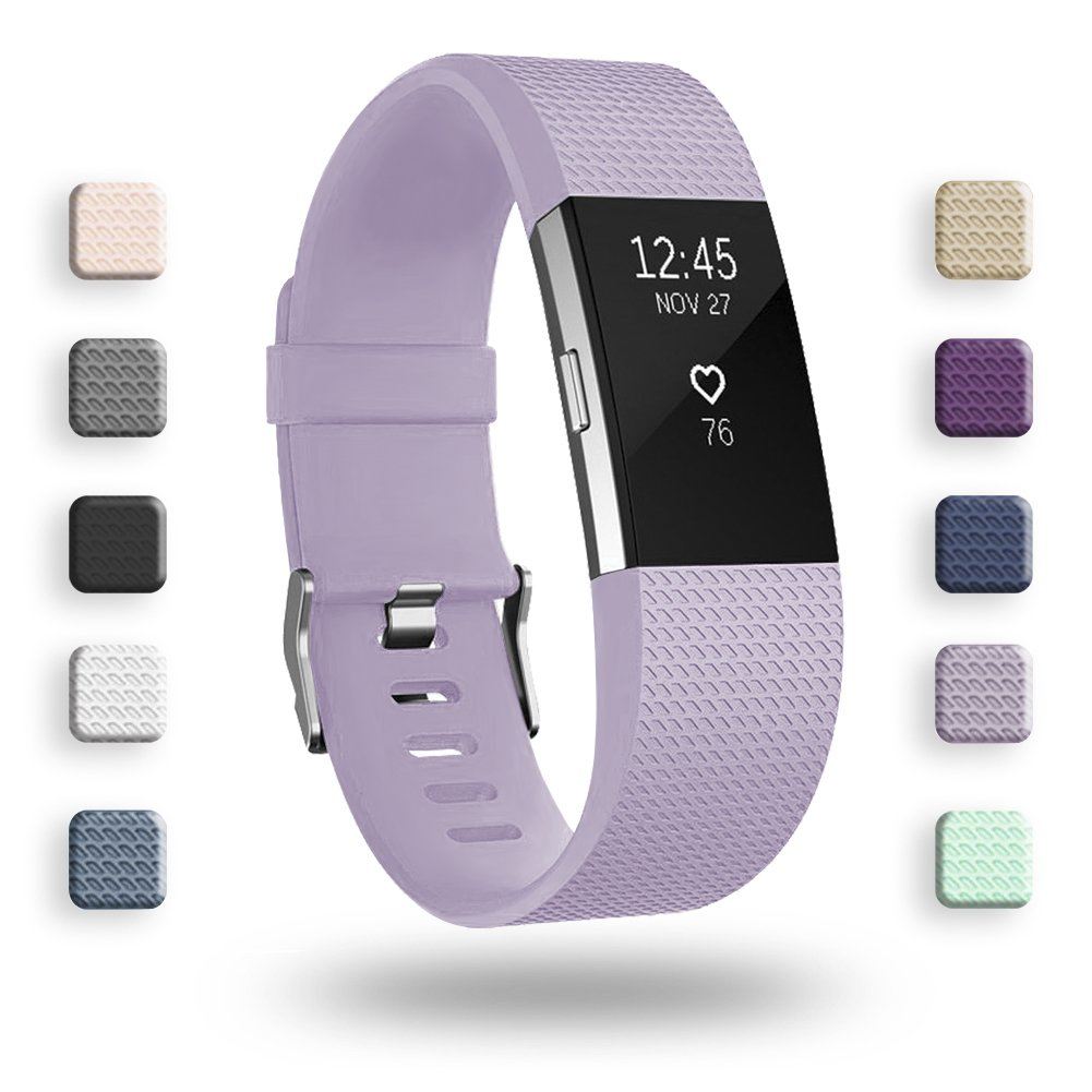 POY Replacement Bands Compatible for Fitbit Charge 2, Adjustable Sport Wristbands, Lavender Small, 1PC