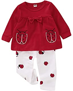 564698734 Baby Girls Clothes Set 2 Piece Long Sleeve Ladybug Pattern Toddler Outfits