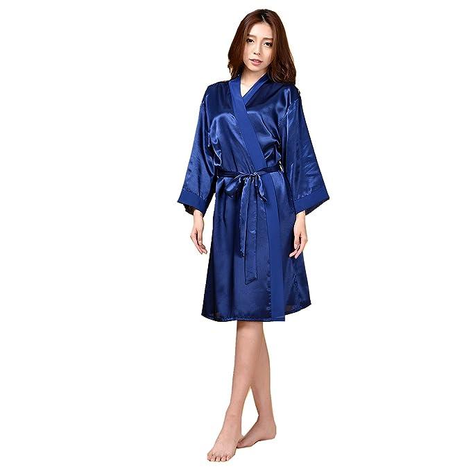 JZLPIN Mujer Sexy Puro Color Bata de Baño Bata Dressing Gown Ropa de Dormir Housecoat Azul Oscuro: Amazon.es: Ropa y accesorios