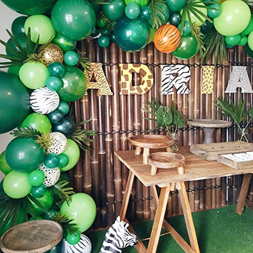(Balloon Garland Arch Kit Jungle Safari Theme Party Decorations - 105pcs 10 Colors Latex Balloons, 24 Palm Leaves, 16Ft Balloon Decorating Strip, for Kids Boys Birthday Party Baby Shower Decorations)