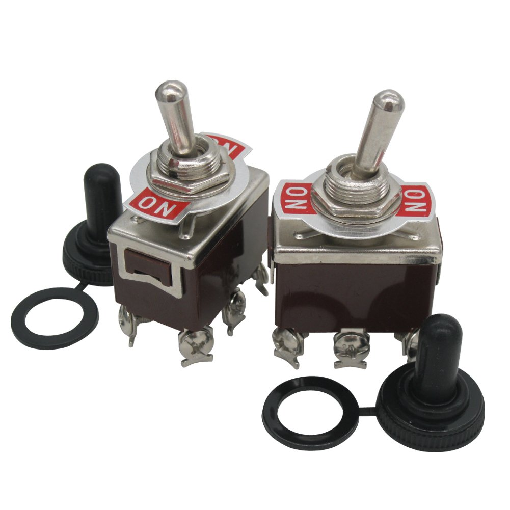 TWTADE / 3 Pcs Heavy Duty Rocker Switch 20A 125V Amps ON/ON 6 Terminals 2 Position DPDT Toggle Switch + Waterproof Boot Cap Cover (Quality Assurance for 2 Years) ten-1321