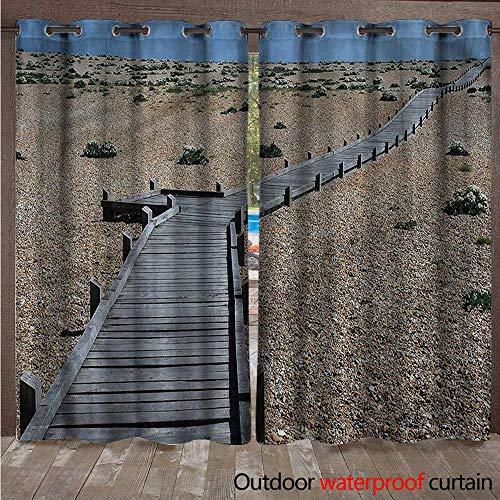 cobeDecor Beach 0utdoor Curtains for Patio Waterproof Coastline Pebbles Peace W72 x L84(183cm x 214cm)