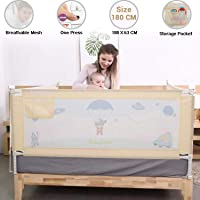 Baybee Bed Rail Guard for Baby Safety-Portable and Foldable Full Bed Rail for Kids (Beige, 180x63 cm)