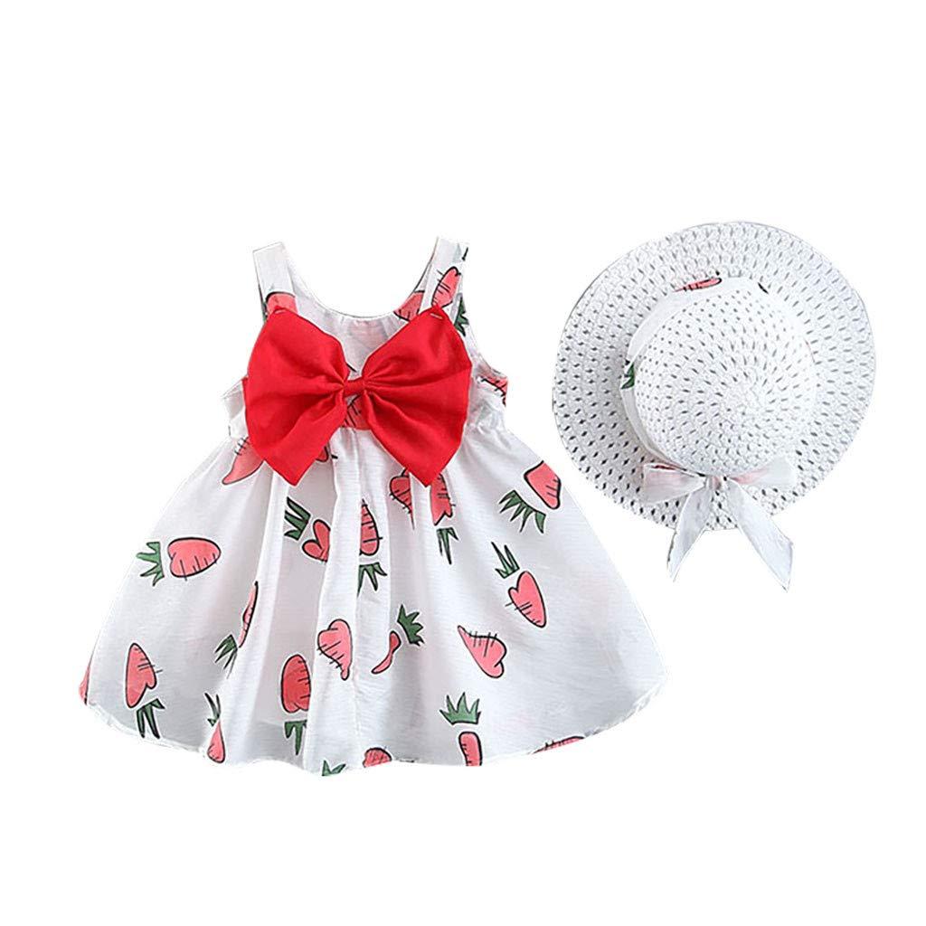 WOCACHI Toddler Baby Girls Dresses Newborn Lemon Bow Strap Princess Party Casual Dress Clothes