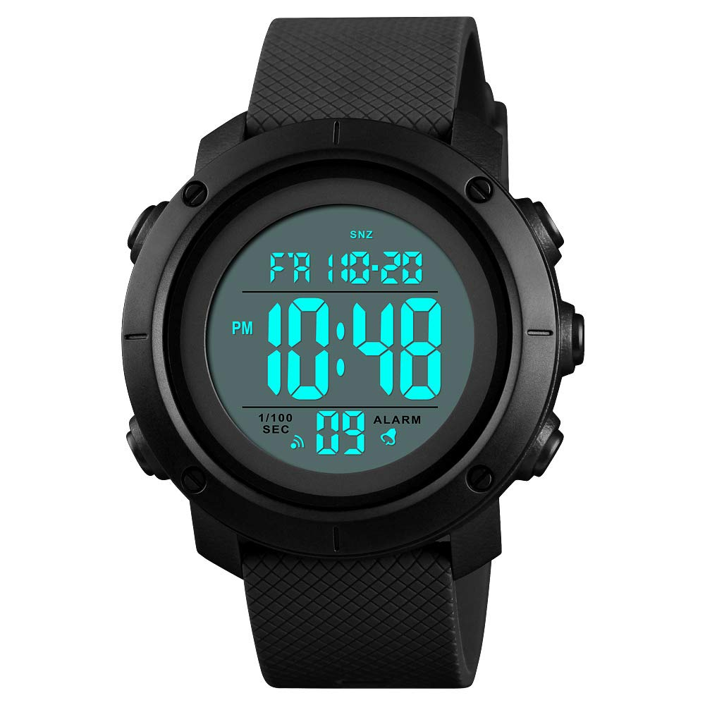 Reloj deportivo para hombre Pantalla Digital LED Retroiluminación de Cara Grande Militar Impermeable Reloj Negro Regalo para Niños Niñas