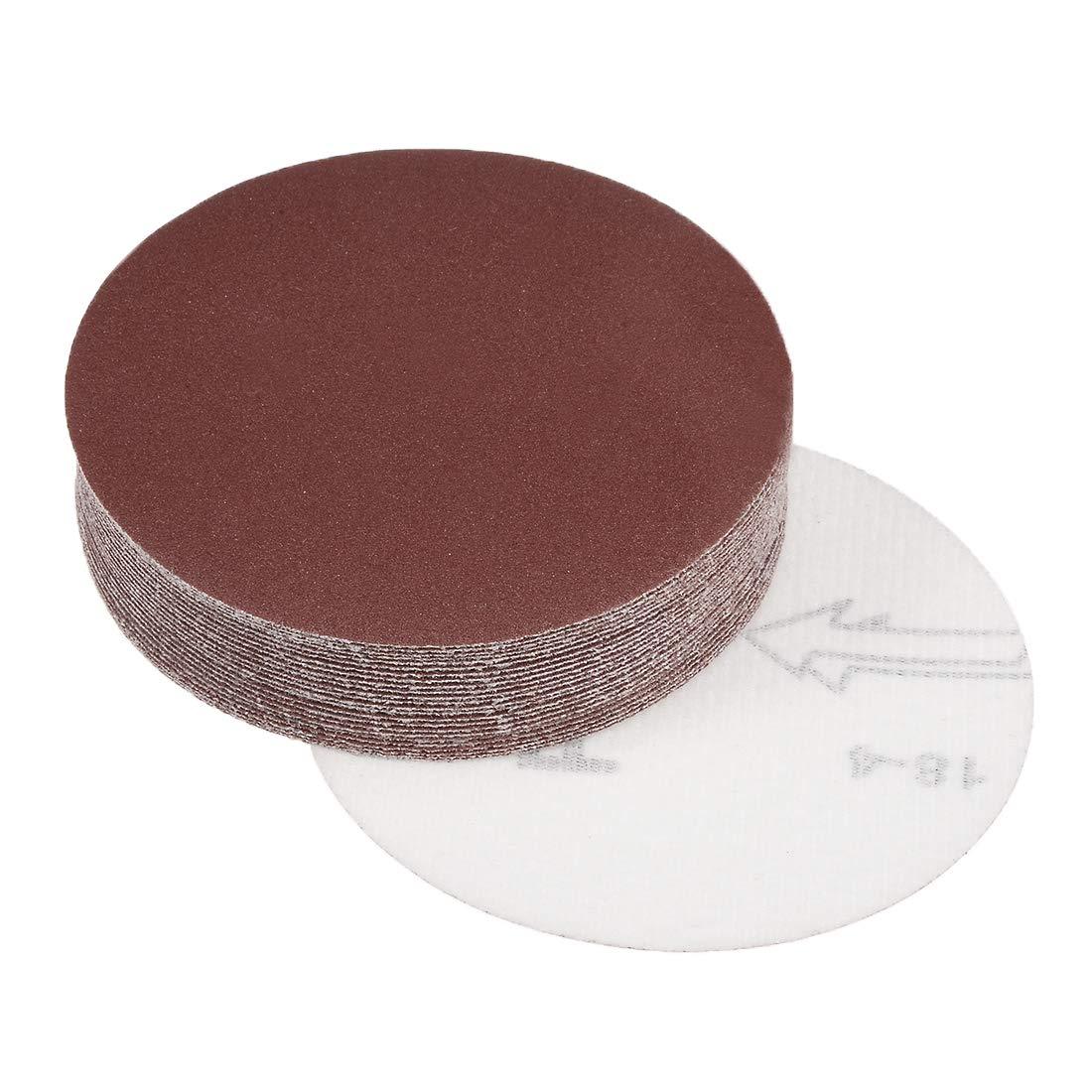 uxcell 4-Inch Sanding Disc 80 Grits Aluminum Oxide Flocking Back Sandpapers for Sanders 25 Pcs