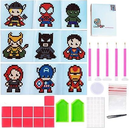 9pcs Childrens Puzzle DIY Diamond Painting Mini Stickers Cartoon Mobile Phone Refrigerator Stickers