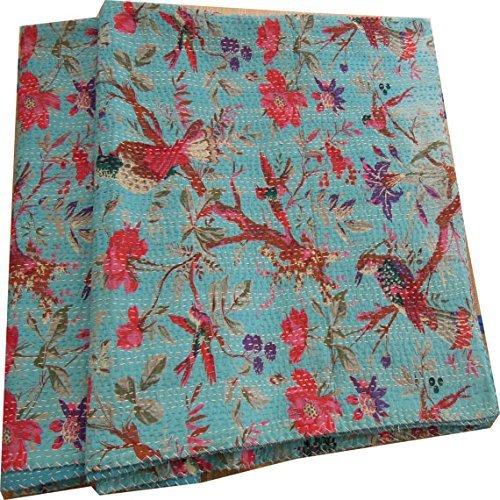 Turquoise Cotton Kantha Sari, Indian Kantha Quilt, Handmade Kantha Blanket, Ethnic Bird Queen Size Bedding Bed-cover