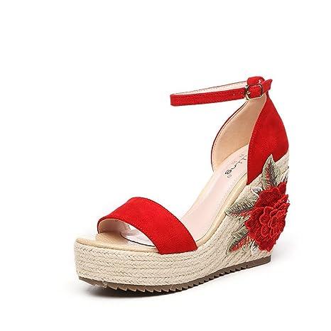 Zapatos rojos del verano con las sandalias Zapatos bordados de las flores bohemias (Color :