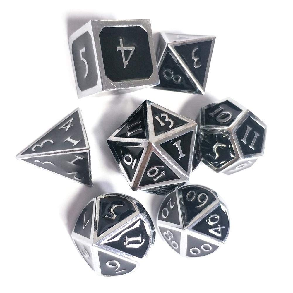 HoneybeeLY 7 Pack Metal Dice Full Polyhedral Set DND Role Playing Game Dice Set For Dungeons And Dragons DND RPG Table Games-Glossy Enamel Dice
