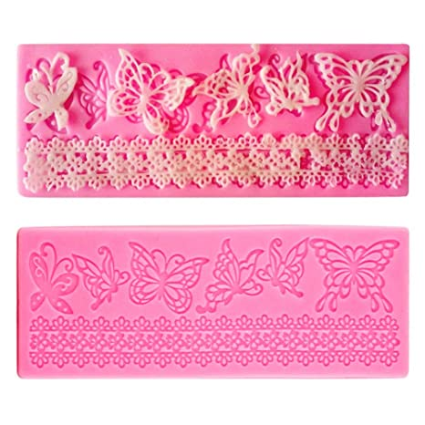 SwirlColor Herramientas de forma de mariposa molde de silicona de encaje de flores de azúcar pasta