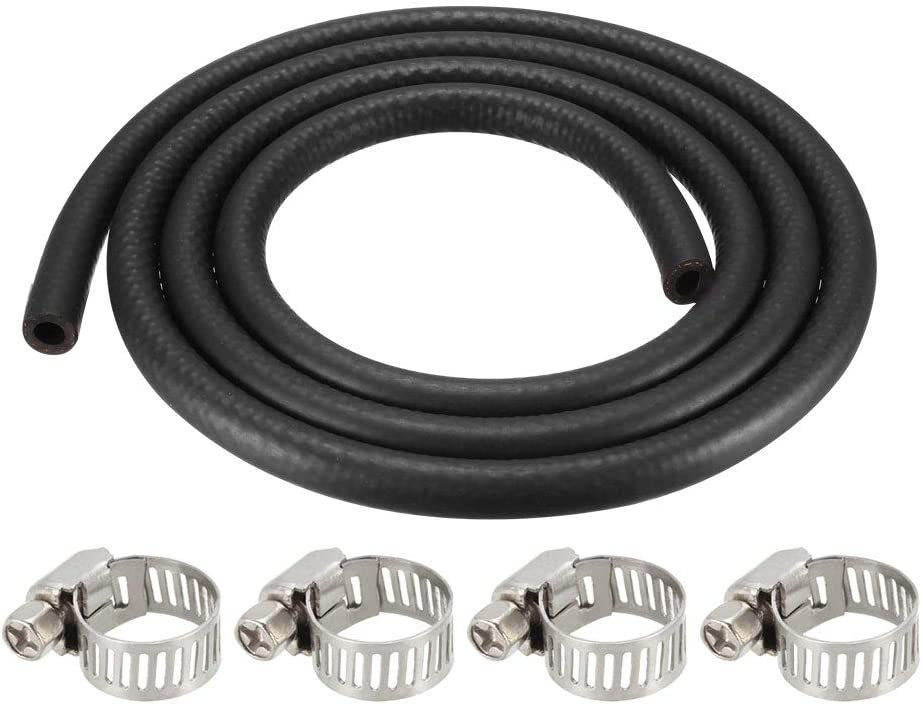sourcing map Fuel Line Hose Rubber 8mm I.D 1.8M//6Ft Diesel Petrol Hose Engine Pipe Tubing with 4 Clamps