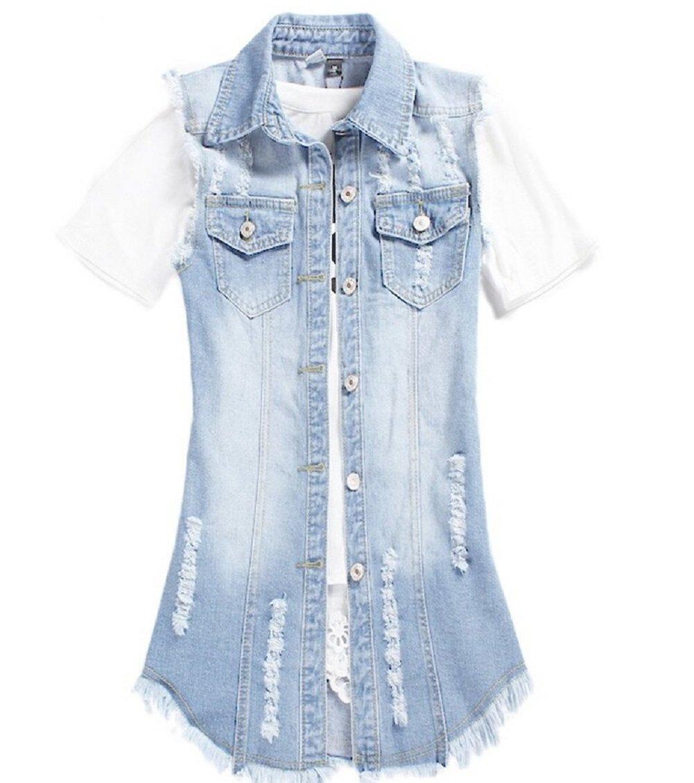 Mcdslrgo Lady Women's Denim Waistcoat Frayed Sleeveless Outwear Vests