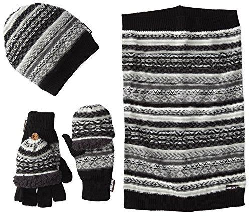 Muk Luks Men's Reverse Fairisle Textured 3 Piece Set (Slouch Beanie Funnel Flip Mitten), Black/Grey, One Size