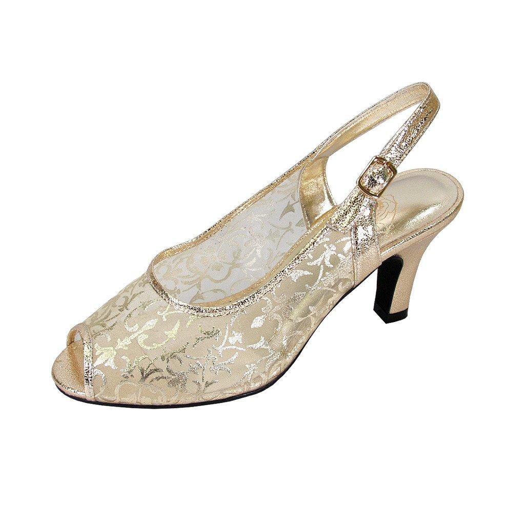 gold Floral FIC Ashley Women Wide Width Peep Toe Nylon Mesh Dress Slingback (Size Measurement Guide Available)