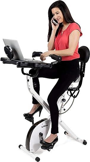 FitDesk Bike Desk 3.0 - Folding Stationary Exercise Bicycle Desk with Massage Bar & Work Out Bands