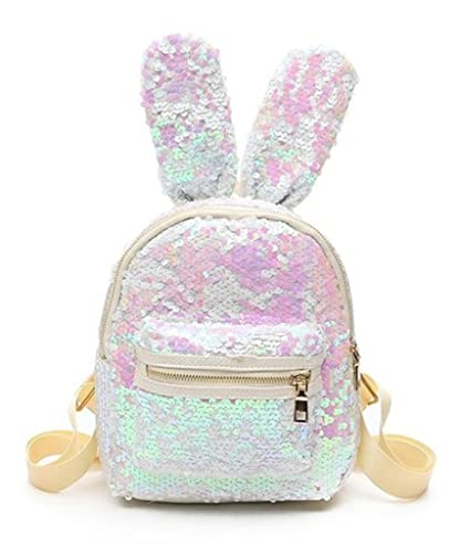 687b553be8 Cute Bunny Ear Sequin Mini Backpack for Women Kids (White)  Amazon ...