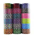 18 Roll Variety Pack of Decorative Duct Style Tape, Each Roll 1.88 Inch x 5 Yards, Ideal for Scrapbooking - Decorating - Signage (6 Zebra + 6 Leopard + 6 Giraffe)