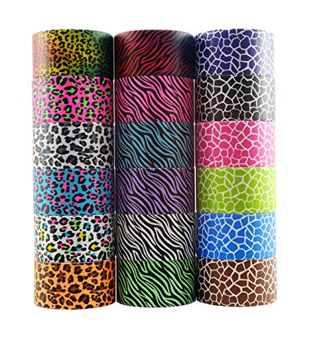 18 Roll Variety Pack of Decorative Duct Style Tape, Each Roll 1.88 Inch x 5 Yards, Ideal for Scrapbooking - Decorating - Signage (6 Zebra + 6 Leopard + 6 Giraffe) ()