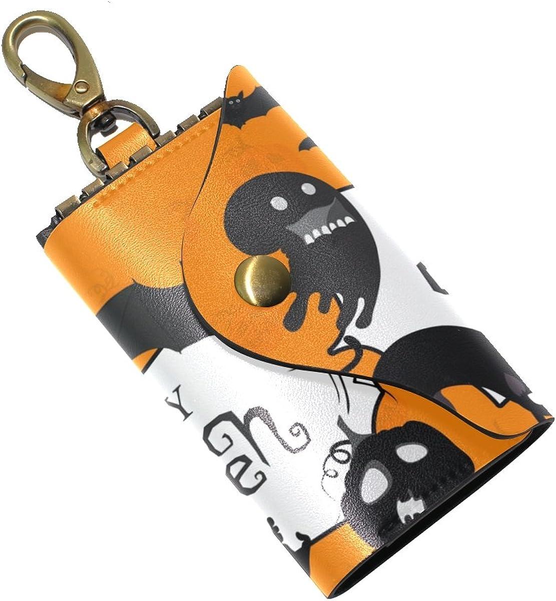 DEYYA Happy Halloween Cat Magic Witch Night Moon Leather Key Case Wallets Unisex Keychain Key Holder with 6 Hooks Snap Closure