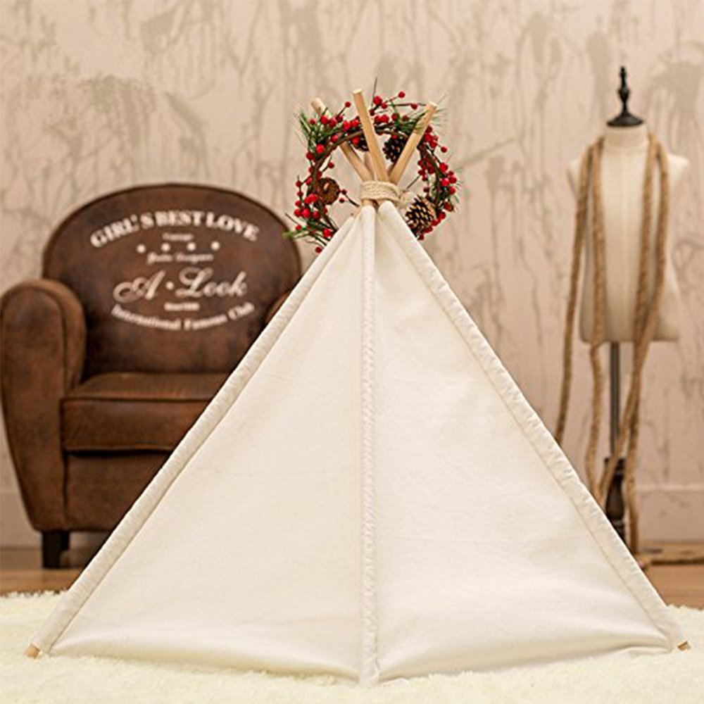 Dog Tent Pet Teepee Dog Cat Play House Portable Washable Pet Bed for Dog Cat Lace Style (Without Cushion) by DEWEL (Image #4)