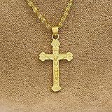 LiCHY Gold Plated 24k Antique Cross & Chain Crucifix Pendant Jesus Kids Gift Communion (Size: 8, Color Gold)
