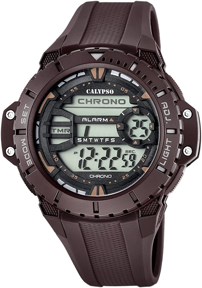 Calypso K5689/3-Reloj Digital para Hombre con Pantalla LCD y Correa de plástico Color marrón.