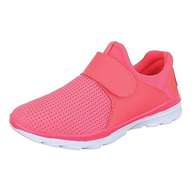 Ital-Design Sportschuhe Damen-Schuhe Geschlossen Klettverschluß  Klettverschluss Freizeitschuhe Pink, Gr 36, 8a66b97758