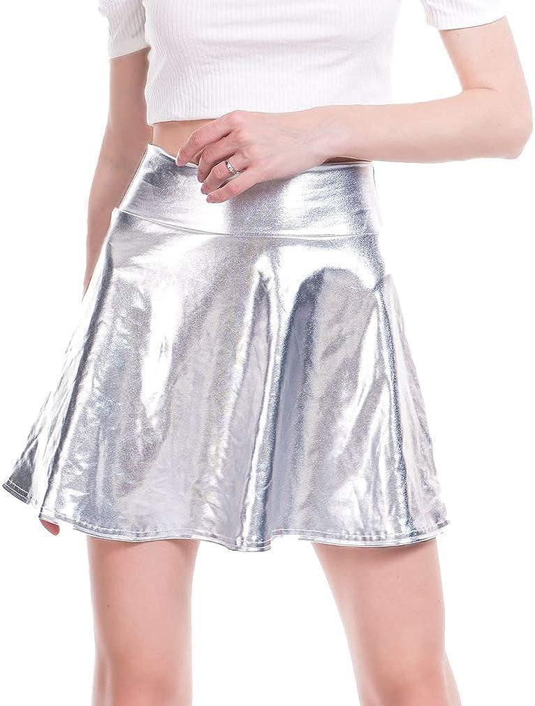 hibote Cintura Alta Faldas de la PU de Las Mujeres Ocasionales Mini Falda de Oro Falda de Cuero de imitación Falda de Patinador de Plata Plisada Falda Negra