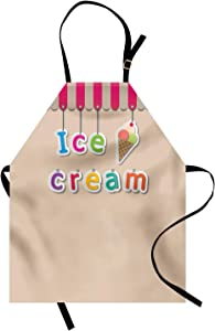 Ambesonne Dessert Apron, Tasty Frozen Summer Food Hanged Colorful Letters for Ice Cream Shops, Unisex Kitchen Bib with Adjustable Neck for Cooking Gardening, Adult Size, Pale Mustard