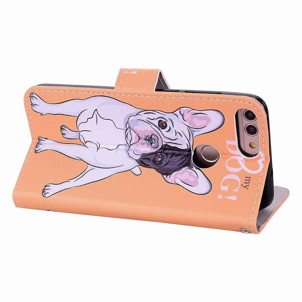 Cover Huawei P Smart Ttimao Flip PU Cuoio Portafoglio con Supporto Magnetico Adatto per Slot per Schede ID Shockproof Bumper Custodia-Amore e Cane+Proteggi Schermo