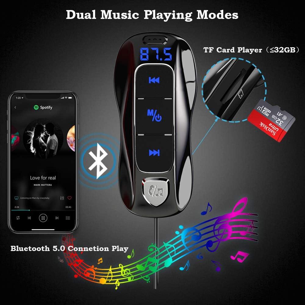 SONRU Auto Radio Bluetooth Trasmettitore Vivavoce Car kit con QC 3.0//5V 2.4A Caricatore per Auto Trasmettitore FM Bluetooth 5.0 Supporto Uscita TF card