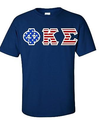 Greek Letter Before Kappa.Phi Kappa Sigma Greek Letter American Flag Tee Amazon Com