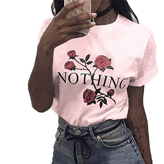 Amazon.com: DondPO Women Fashion Summer T Shirt Rose Printing Loose Casual Tops Short-Sleeved Blouse: Clothing