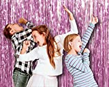 Baby Light Pink Metallic Foil Fringe Curtains 3 x 8 Feet Tinsel Pack of 4 Photo Booth Props Backdrop Decorations for Sweet 16 Party Baby Shower Birthday Engagement Graduation Party Supplies
