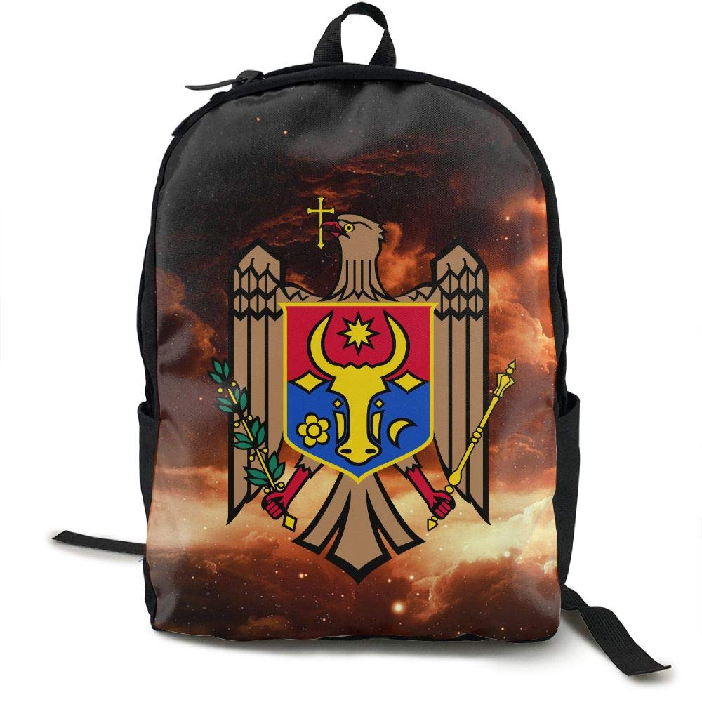 Moldova Coat Of Arms Fashion Lightweight Canvas Travel Backpack For Women & Men