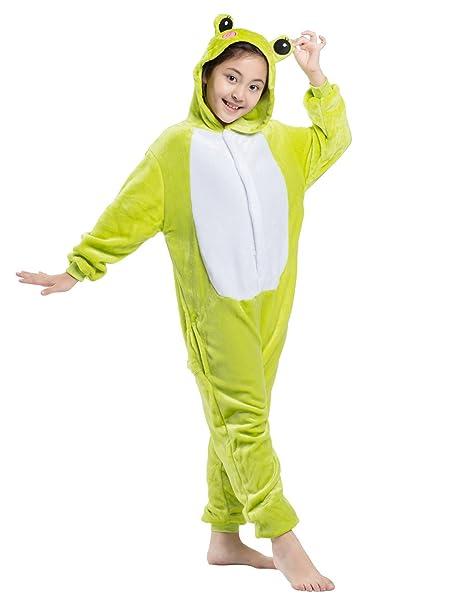 Wamvp Kigurumi Onesie Pijamas Niños Traje Disfraz Animal Pyjamas Cosplay Homewear -Rana