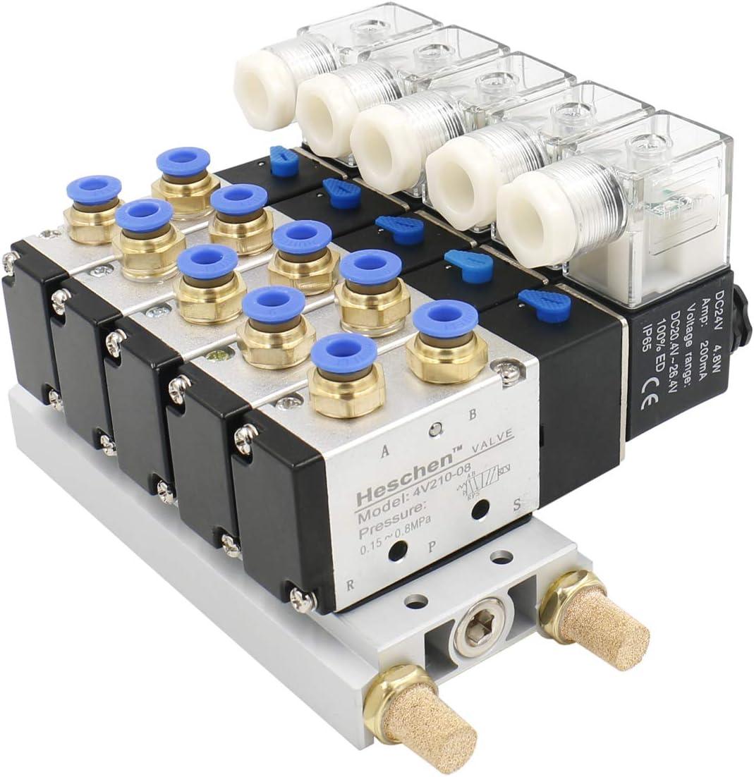 heschen eléctrica neumática 5Válvula de solenoide 4V210–08DC 24V PT1/45way 2posición colector base Silenciador Rápida Accesorios Set