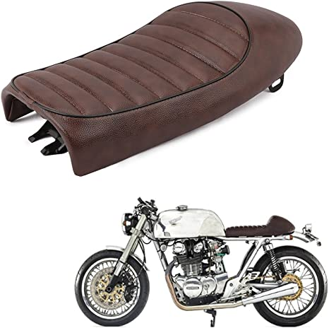 Hump Universel Seat Cafe Racer Vintage Selle Moto Cuir Ray/é Seat Couleur: Brun